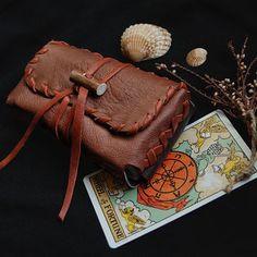 tarot bag • upcycled leather tarot case - tarot pouch - tarot card case - tarot card holder - tarot card bag - tarot deck case