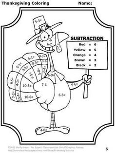 math worksheet : turkey tracks  feather facts  math printables color by the code  : Thanksgiving Addition And Subtraction Worksheets