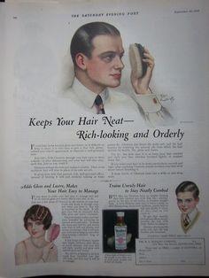 1938 Vintage R L Watkins Bottle Hair Glostora Earl Christy Art Ad