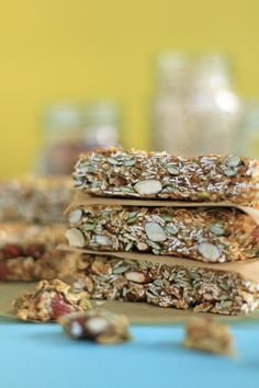 Hearty chewy granola bars loaded with toasted oats and almonds and a date and peanut butter caramel to hold it all together.