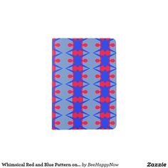 Whimsical Red and Blue Pattern on Passport Holder