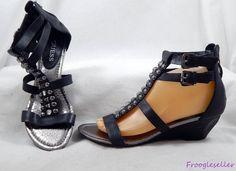 Guess womens Gwaliano gladiator sandals wedge shoes 8.5 M black leather #Guess #Gladiator #sandals #shoes #womensfashion