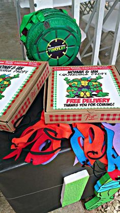 Teenage Mutant Ninja Turtles Birthday Party Pizza Box Favors! See more party planning ideas at CatchMyParty.com!