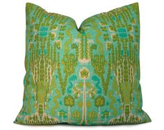 Aqua, Turquoise and Olive Ikat Pillow Cover - Decorative Pillow - Throw Pillow - Accent Pillow  - 18x18 20x20 22x22 or Lumbar Sizes