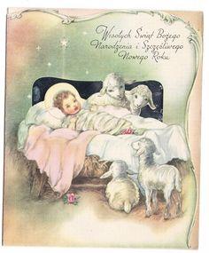 Vintage Polish Baby Jesus in Manger Christmas Greeting Card