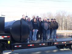 Group photo on the 30 ton drop deck trailer!