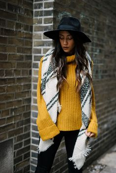 Sweater: tumblr yellow mustard turtleneck turtleneck pants black pants scarf felt hat hat black hat