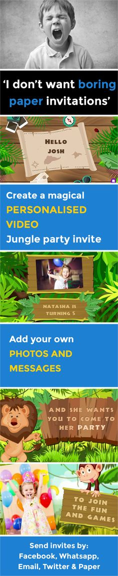 Create a magical VIDEO party invitation - www.poshtiger.co Online Birthday Invitations, Party Invitations Kids, Invitation Paper, Invites, Jungle Party, Fun Games, Rsvp, Party Ideas, Messages