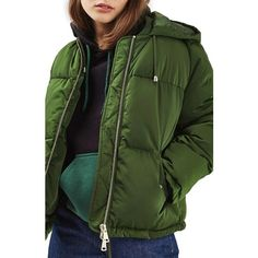 Women's Topshop Matilda Puffer Jacket (145 BGN) ❤ liked on Polyvore featuring outerwear, jackets, green, short-sleeve jackets, green jacket, short puffer jacket, short hooded jacket and topshop jackets