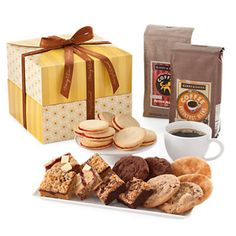 Gourmet Coffee Gift Deluxe - great food gift for christmas! Coffee Gift Baskets, Coffee Lover Gifts, Coffee Lovers, Chocolate Sweets, Chocolate Gifts, Best Iced Coffee, Christmas Food Gifts, Fresh Flower Delivery, Baked Goods
