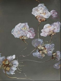Claire Basler - love the combination og grey, blue and copper Art Floral, Claire Basler, Ouvrages D'art, Guache, Art Et Illustration, Art Design, Botanical Art, Painting & Drawing, Painting Abstract