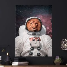 Metal Poster Lion On Space Poster