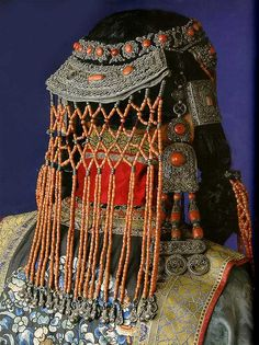 Mongolian woman's headdress of silver and red coral | Flickr - Photo Sharing!