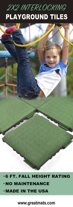 Take a look at these 2x2 foot interlocking playground tiles. They're safe, comfortable and convenient!