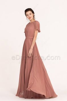 Dusty Rose Modest Pleating Bridesmaid Dresses with Sleeves Taffeta Dress, Silk Gown, Satin Dresses, Chiffon Dress, Nice Dresses, Dusty Rose Bridesmaid Dresses, Dusty Rose Dress, Bridesmaids, Ball Gowns