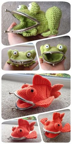 Rate this post Goldfish Coin Purse pattern by Laura Sutcliffe DIY Crochet Frog and Goldfish Large Coin Purses' Pattern from Laura Sutcliffe on Ravelry.DIY Crochet Frog and Goldfish Large Coin Purse Patterns - wonder if I could just use a stuffed animal. Crochet Diy, Crochet Frog, Crochet Amigurumi, Unique Crochet, Love Crochet, Crochet Crafts, Yarn Crafts, Crochet Ideas, Crochet Sheep