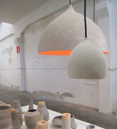 awesome cellulose lamps...paper mache?