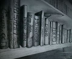 This is a drawing of my library at home. It showcases a few books of my collection. This being one of my first drawings where I used shading pencils, there are a few refinements that I ignored; but I love it no less.  It took about 3 hours to complete; however that includes the time I spent trying out the new set of shading pencils, flaunting it's full range from 2B all the way to 8B.
