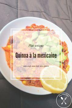 Le quinoa à la mexicaine est une recette végé relevée. Du quinoa, des haricots rouges, du maïs, des poivrons, beaucoup d'épices mais aussi de l'avocat pour un peu de douceur ! Ca me donne l'eau à la bouche, pas vous ?! En plus, c'est sans lait, sans œufs et sans gluten. Miam !