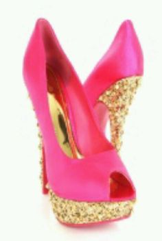 Hot pink high heels with gold sparkle