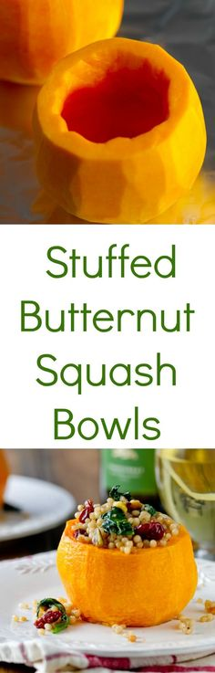 Stuffed Butternut Squash Bowls are an easy vegetarian or vegan entry and can be stuffed with just about anything!!! You'll love this healthy butternut squash recipe and healthy side dish recipe. #butternutsquash #healthysidedish #squashrecipes #vegetarianrecipe #veganrecipe