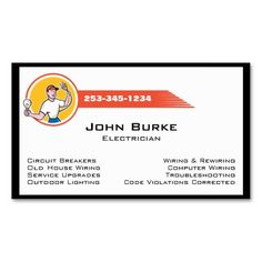 Electrician electric contractor business card pinterest business electrician electric contractor business card easy to edit information in goof proof text boxes colourmoves