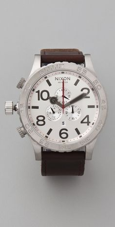 Nixon The 51-30 Chrono Leather Watch thestylecure.com
