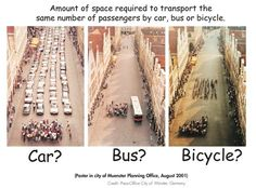 Car vs bus vs bicycle. A classic.