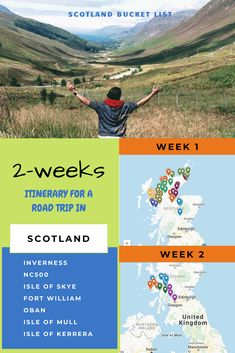 Plan a road trip to Scotland to explore highlands, wildlife, Harry Potter destinations and islands not missing any highlights on the NC500 route, Isle of skye and other islands nearby. Here is a two week road trip ITINERARY MAP with highlight bucket list items to cover in Scotland. Each item is colour coded in a region and can be separately accessed. #ScotlandRoadtrip #Scotland #Roadtrip #NC500 #Highlands #Travel #UK