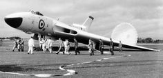 Taken after the crash landing at RNZAF Ohakea. Note the air brakes, still there… Military Jets, Military Aircraft, Fighter Pilot, Fighter Jets, Vickers Valiant, V Force, Avro Vulcan, Ejection Seat, Thunder And Lightning
