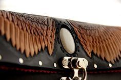 RESERVED  Tooled Leather Hawk Wing Clutch with by sunnyrising