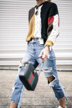 Printed cable knit sweaters + distressed jeans + sneakers