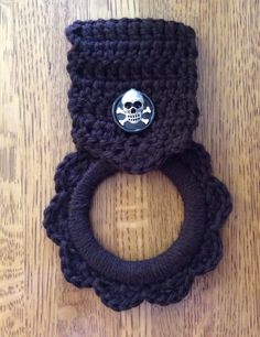 kitchen towel hanger, pirate, brown, button towel hanger, RV towel hanger, man cave, hand crochet hanger, skull, skull & crossbones, gift