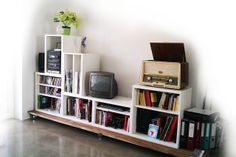 """Stacking Besta for media storage: I bet you could do a """"floating shelving"""" look with these too. Nice arrangement!"""