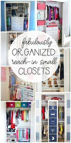 Small Reach-in Closet Organization Ideas from The Happy Housie organization ideas small Small Reach-in Closet Organization Ideas Organisation Hacks, Small Closet Organization, Small Closet Storage, Small House Storage Ideas, Girls Bedroom Organization, Kids Playroom Storage, Kids Clothes Organization, Scarf Organization, Small Bedroom Storage
