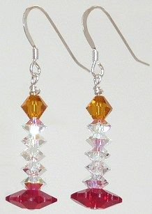 Candlestick earrings made from Swarovski crystal beads. So cute!