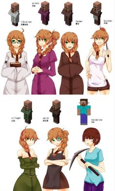 Minecraft girls: Amelia the librarian, Diana the priestess, sheila the farmer, Jess the butcher, May the random villager, Nina the blacksmith, and Heather the.. Herobrine?