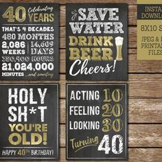 40th Birthday Party Decor Cheers to 40 Years Birthday   Etsy 50th Birthday Party Decorations, Gold Birthday Party, Happy 40th Birthday, 40th Birthday Parties, Birthday Signs, Happy 50th, 50th Party, Birthday Crafts, Mom Birthday