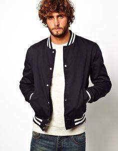 [$67.50] ASOS Varsity Jacket Boy Fashion, Mens Fashion, Fashion Online, Asos, Bomber Jacket, Menswear, Stylish, How To Wear, Varsity Jackets