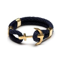 Nautical Anchor Navy Blue and Gold Bracelet