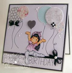 a fun card by Mandy using Simon Says Stamp Exclusives a long with Tilda for a Great Birthday card!Such a fun card by Mandy using Simon Says Stamp Exclusives a long with Tilda for a Great Birthday card! Girl Birthday Cards, Bday Cards, Handmade Birthday Cards, Beautiful Handmade Cards, Tampons, Cool Cards, Kids Cards, Copic, Scrapbook Cards