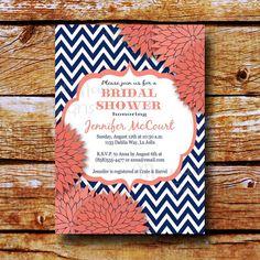 Bridal Shower Invitation - Baby Shower Invitation - Wedding Shower Invite - Sip & See - Printable - Navy Coral - Jennifer