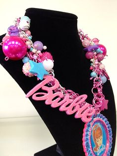 Pink Chunky Barbie Cameo Necklace by CANDYGLAMxxo on Etsy, $110.00