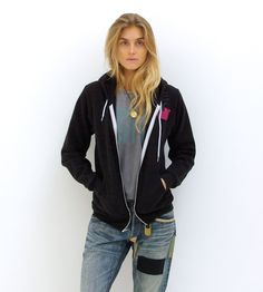 #FREECITY x american apparel zip in black with pink dove