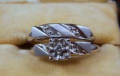 1960s Diamond Wedding Ring Set White Gold 14K by estatejewelryshop, $375.00
