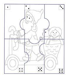 * Kabouterpuzzel! TIP: Print uit op 4 verschillende kleuren, dobbelen én... wie heeft als eerste de kabouterpuzzel klaar? Diagram, Santa, Prints, Christmas, Math, Xmas, Weihnachten, Navidad, Yule
