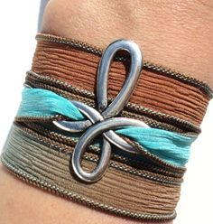 Bohemian Cross Silk Wrap Bracelet Brown Blue Yoga Jewelry Necklace Mothers Day Birthday Unique Gift For Her Under 25 Item P52 on Etsy, $24.95