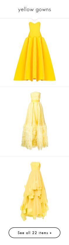 """""""yellow gowns"""" by lulucosby ❤ liked on Polyvore featuring dresses, gowns, zac posen, evening gowns, gowns yellow, yellow, corset gown, yellow evening dress, corset dress and zac posen gowns"""