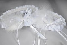 """Just Married Wedding Garters in White Satin with Swarovski Crystal & Marabou Feathers by Sugarplum Garters 