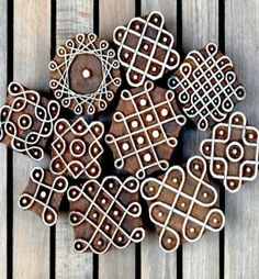 Kolam Blocks (Set of Beautiful Rangoli Designs, Kolam Designs, Indian Crafts, Indian Art, Homemade Stamps, Chalk Design, Kolam Rangoli, Wood Stamp, Mandala